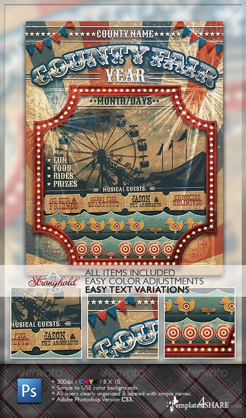 GraphicRiver Vintage County Fair Carnival Flyer