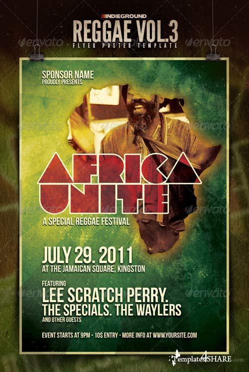 GraphicRiver Africa Unite - Reggae Flyer/Poster Vol. 3