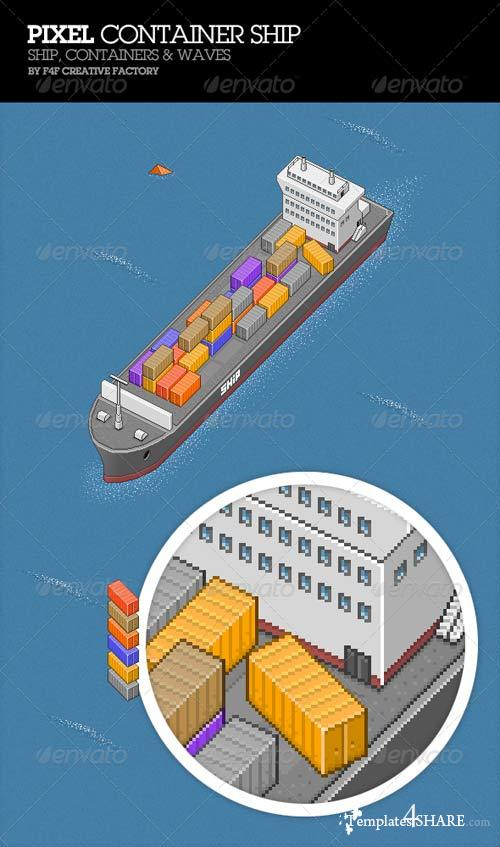 GraphicRiver Pixel Container Ship