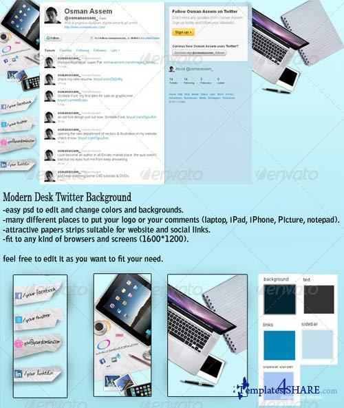 GraphicRiver Modern Desk Twitter Background
