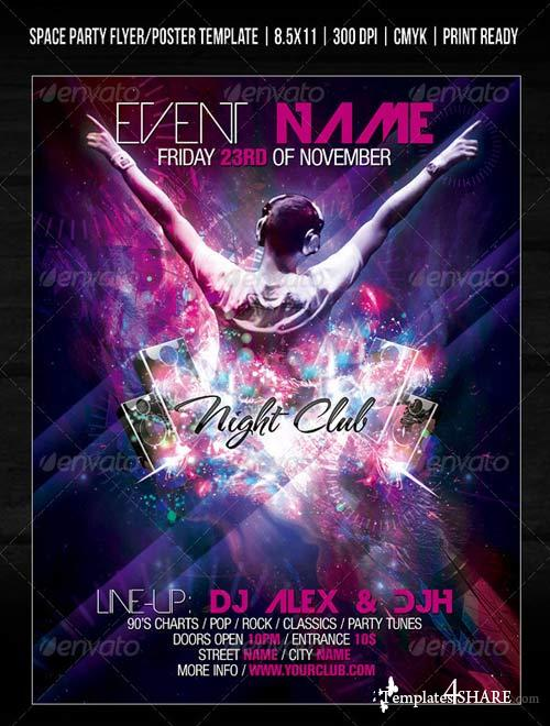 GraphicRiver Night Club Space Party Flyer/Poster Template V2