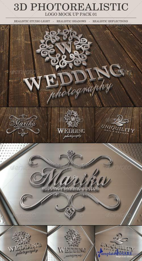 GraphicRiver 3D Photo Realistic Logo Mock Up Pack 01