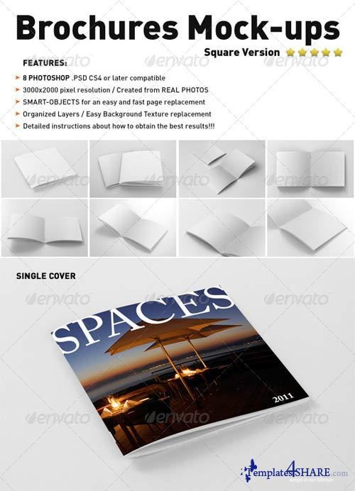 GraphicRiver Photorealistic Square Brochure Mock-ups