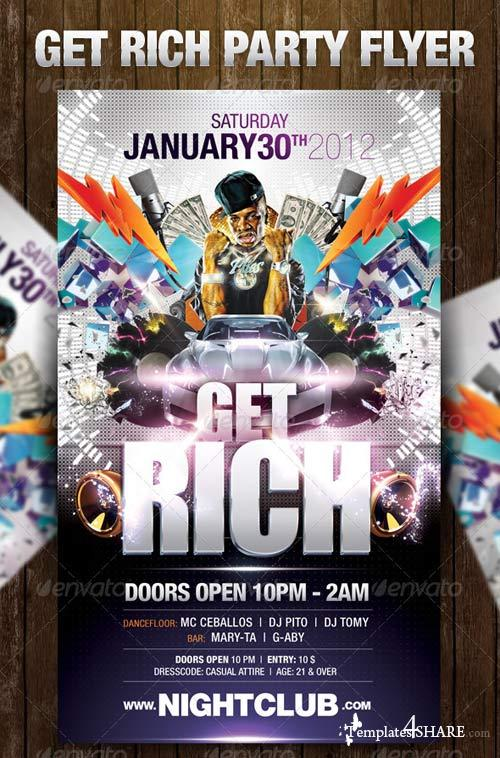GraphicRiver Get Rich Party Flyer