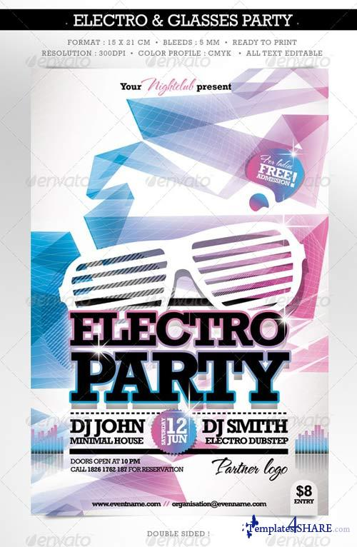 GraphicRiver Electro & Fashion Glasses Flyer Double Sided