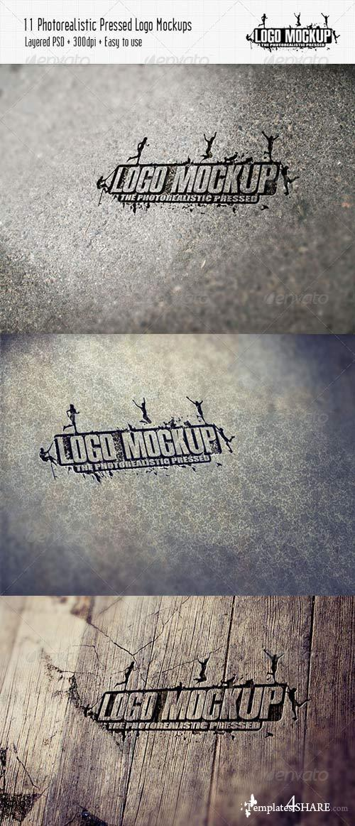 GraphicRiver 11 Photorealistic Pressed Logo Mock-Ups