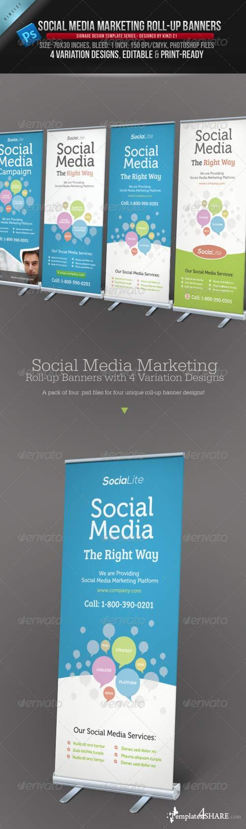 GraphicRiver Social Media Marketing Roll-up Banners