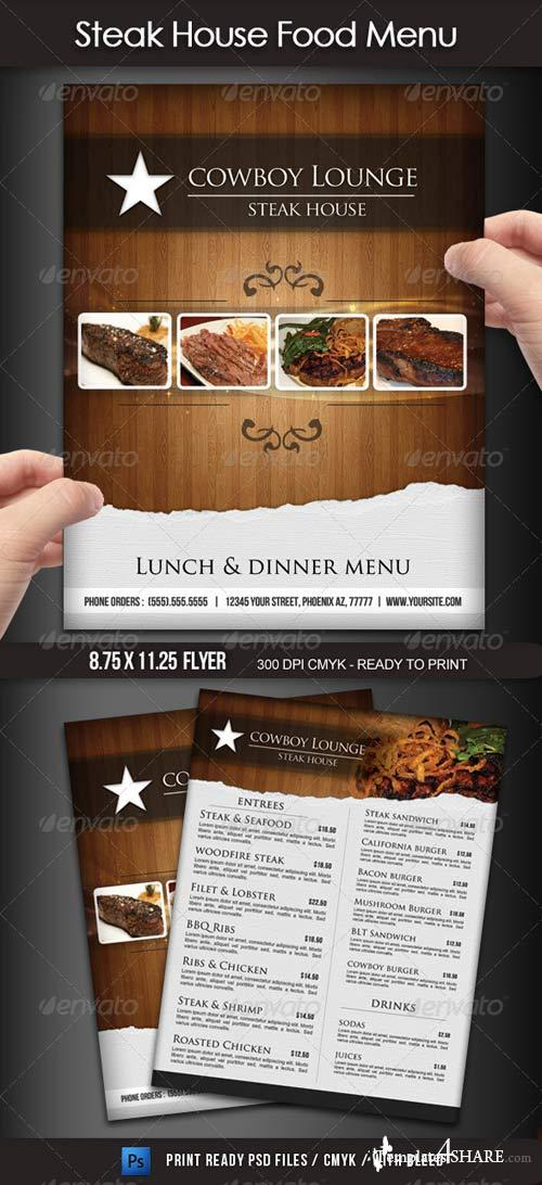 GraphicRiver Steak House Menu Flyer