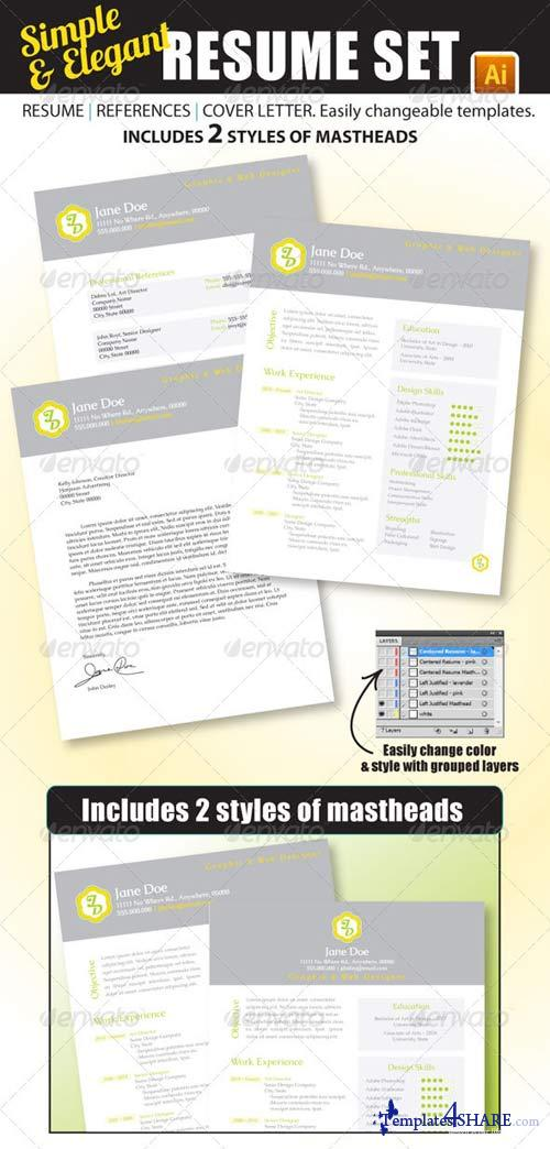 GraphicRiver Simple & Elegant Resume Set