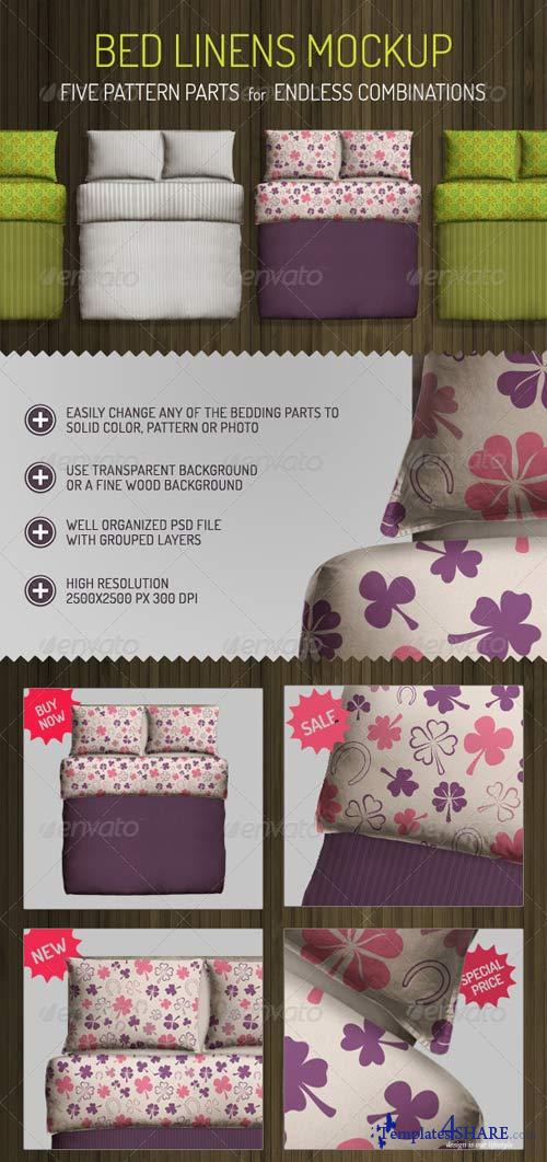 GraphicRiver Bed Linens Mock Up - Bedding Set Template