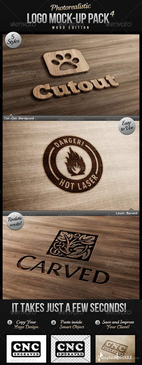 GraphicRiver Photorealistic Logo Mock-Up Pack 4 - Wood Edition