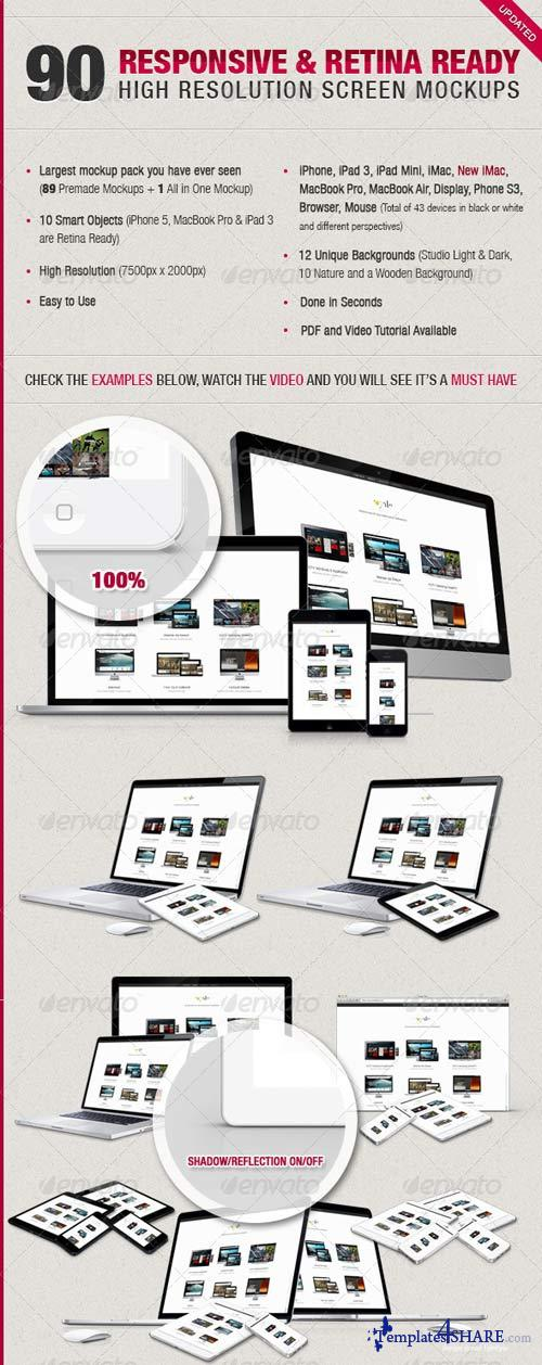 GraphicRiver 90 Responsive & Retina Ready Screen Mockups