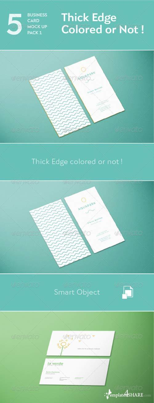 GraphicRiver 5 Business Card Mock Up Pack 1 - Thick Edge