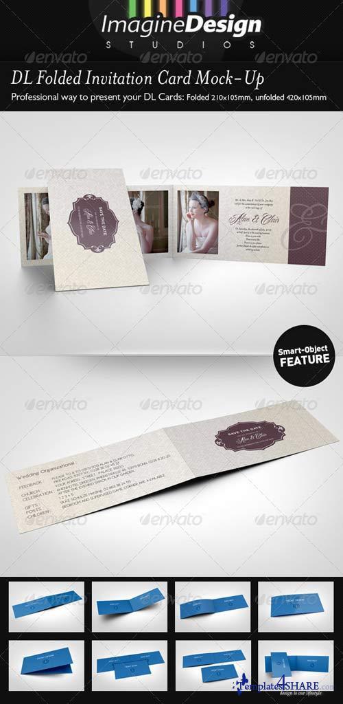 GraphicRiver DL Folded Invitation Card Mock-Up