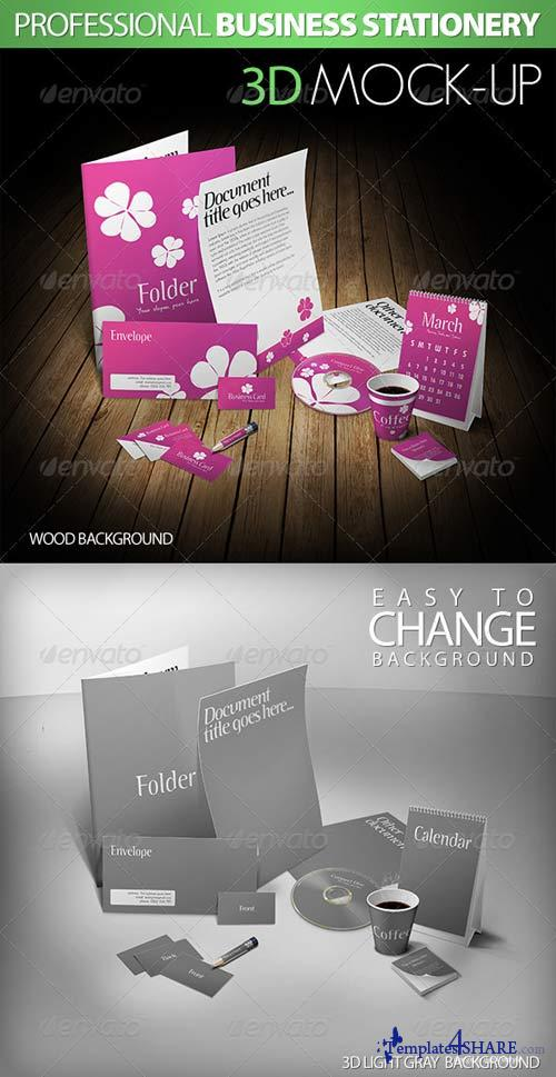 GraphicRiver Professional Stationery 3D Mock-Up