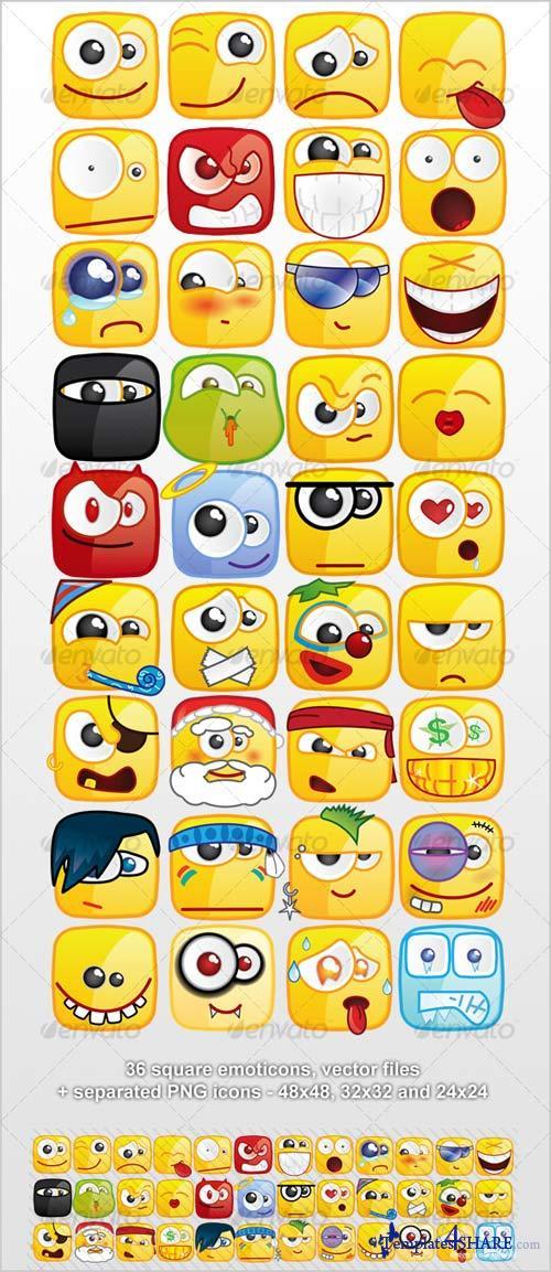GraphicRiver 36 Square emoticons PACK