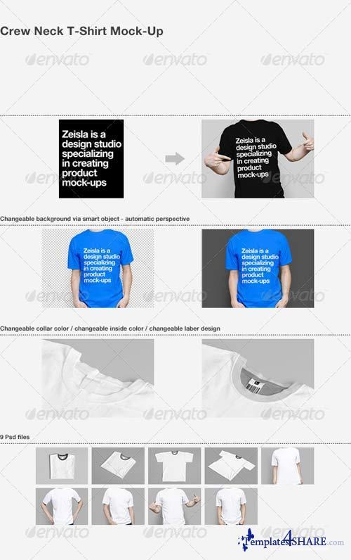 GraphicRiver Crew Neck T-Shirt Mock-Up