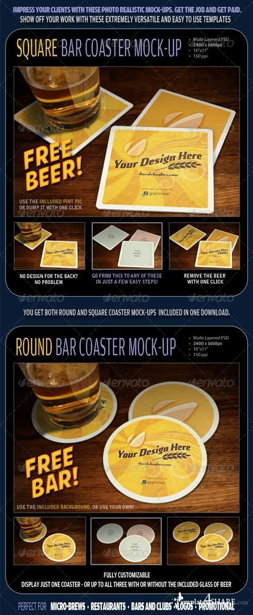 GraphicRiver Bar Coaster Mock-ups