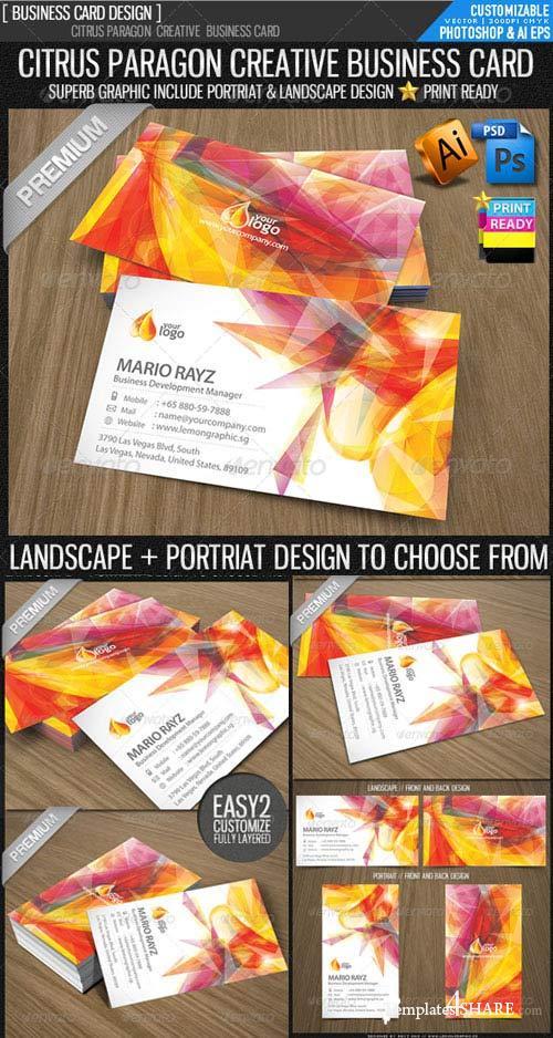 GraphicRiver Citrus paragon corporate business card