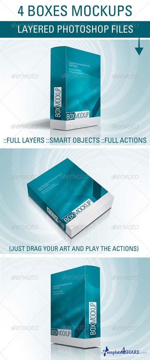 GraphicRiver 4 Box Mockup Files and Actions