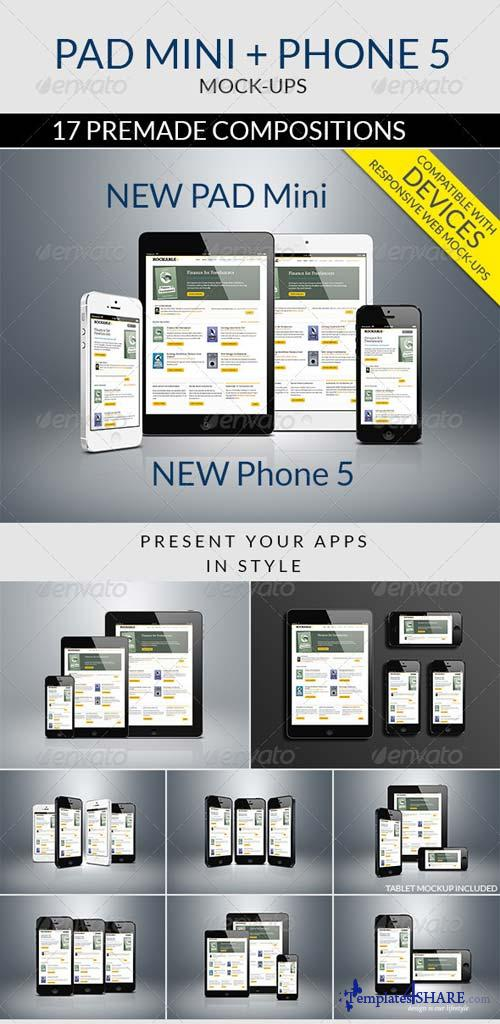GraphicRiver Pad Mini and Phone 5 Mockups
