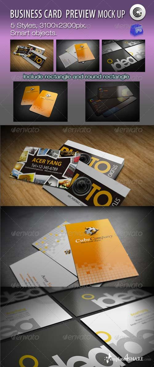 GraphicRiver 5 Styles Business Card Preview Mock-ups