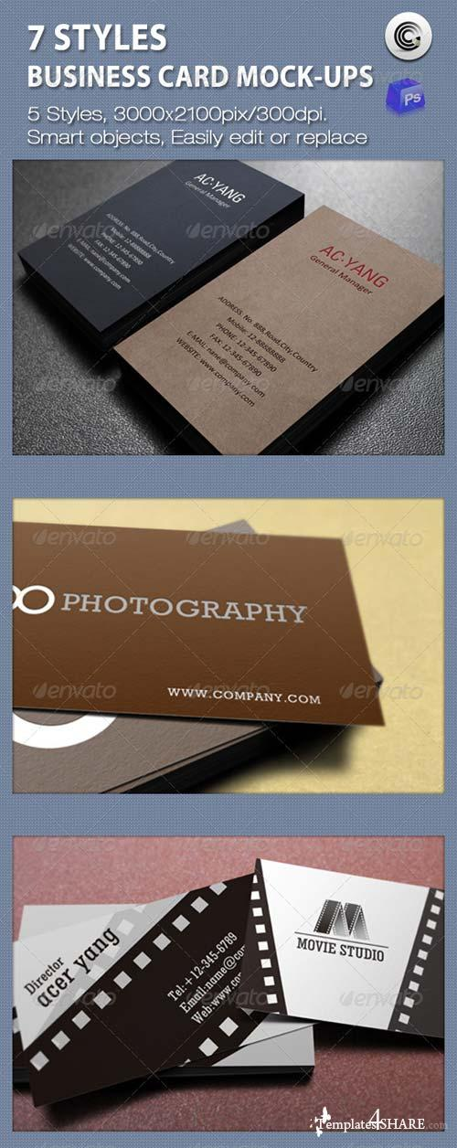GraphicRiver 7 Styles Business Card Mock-ups