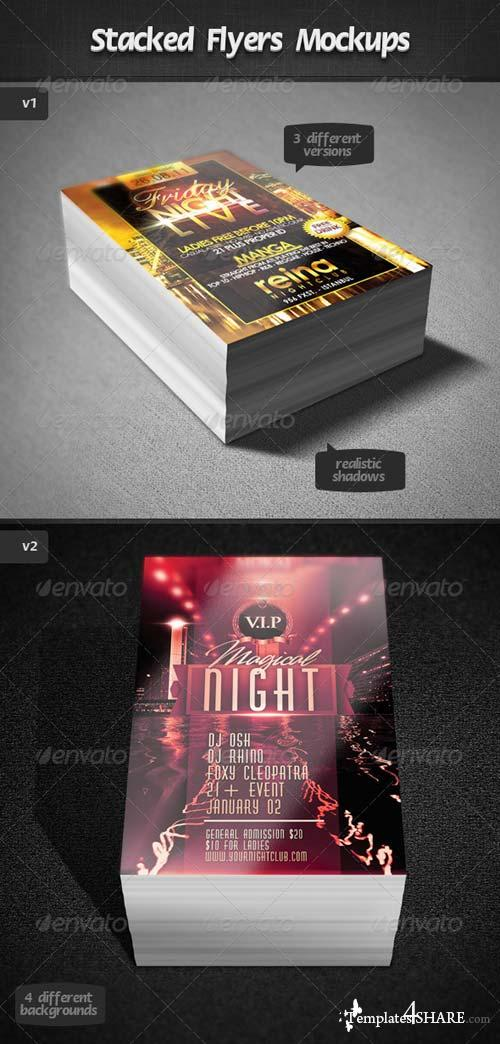 GraphicRiver Stacked Flyers Mockups