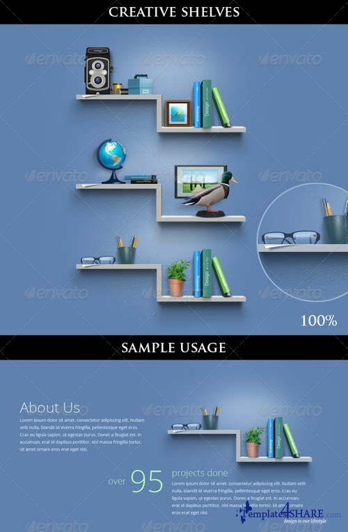 GraphicRiver Creative Book Shelves for About Us Page / Including Icons