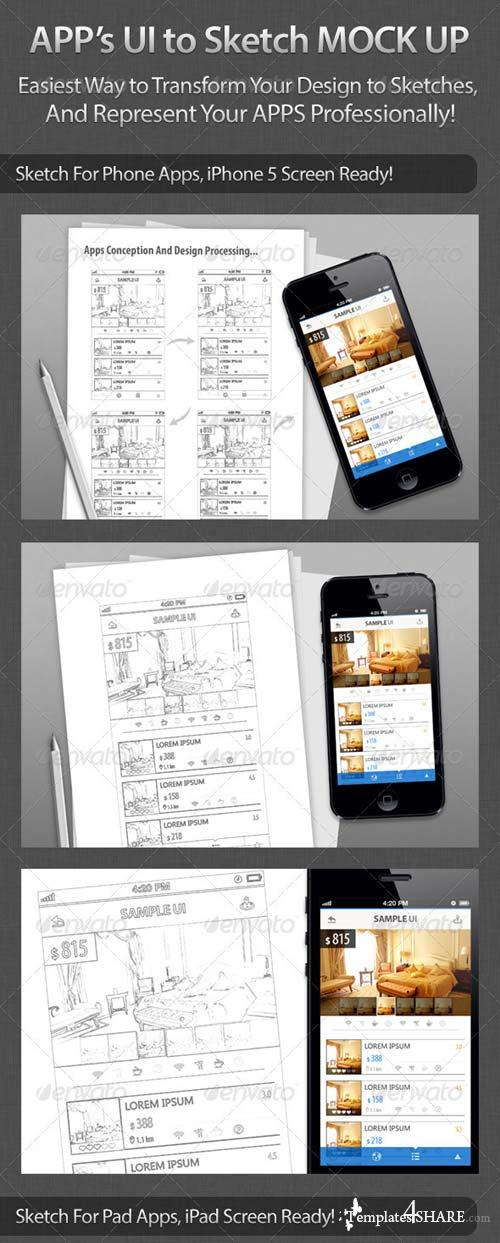 GraphicRiver Apps UI to Sketch Mock Up