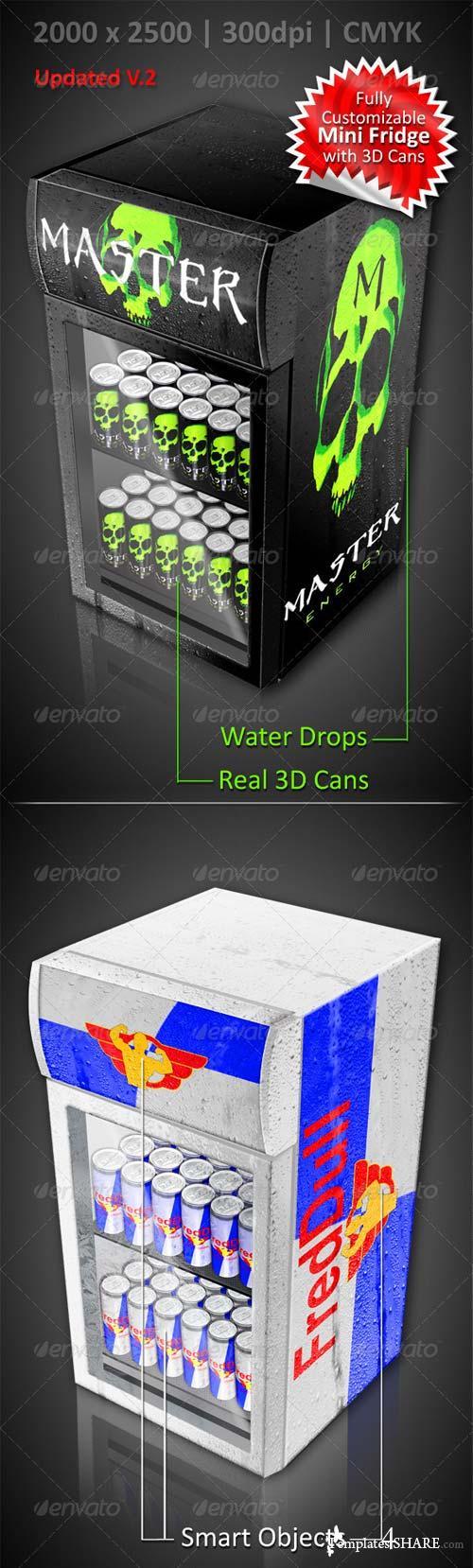 GraphicRiver Energy Drink Soda Can Mini Fridge Mockup