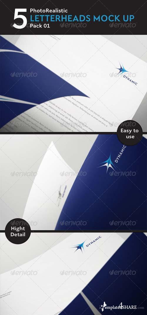 GraphicRiver 5 Photorealistic Letterhead Mock Up Pack 01