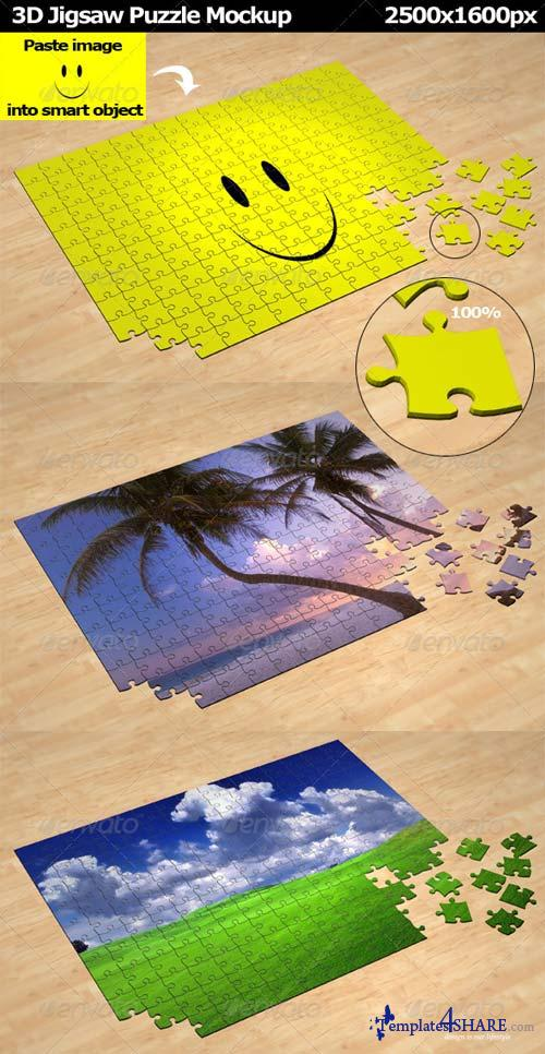 GraphicRiver 3D Jigsaw Puzzle Mockup