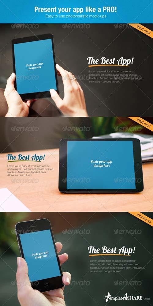 GraphicRiver Multi-Platform App Mock-up Tablet, Phone4, Phone5