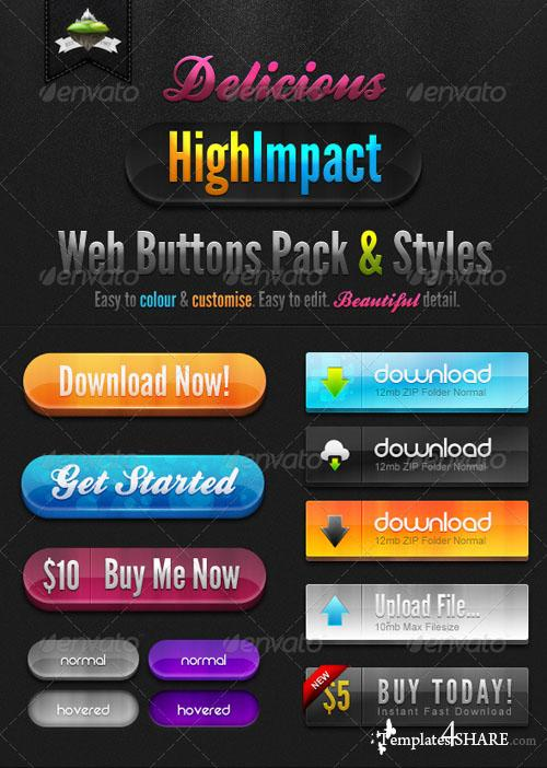 GraphicRiver Delicious High Impact Web Buttons Pack & Styles