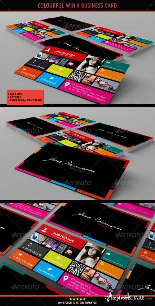 GraphicRiver Colourful Win 8 Business Card