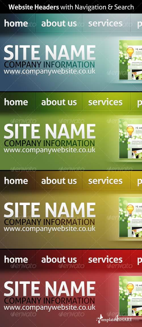 GraphicRiver Website Headers with Navigation & Search