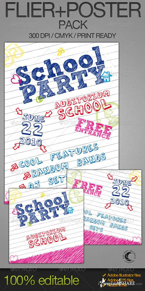 GraphicRiver School Party Poster + Flyer