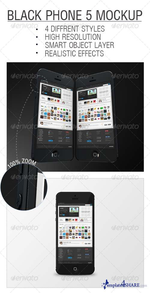 GraphicRiver Black Phone 5 Mockup