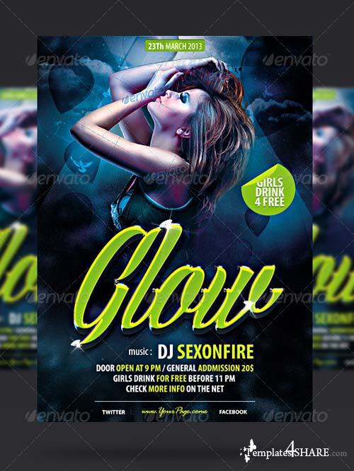 GraphicRiver Glow Party Flyer Template 4077699