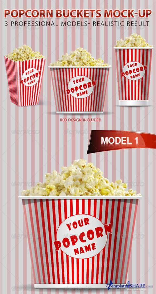 GraphicRiver Popcorn Buckets Mock-up