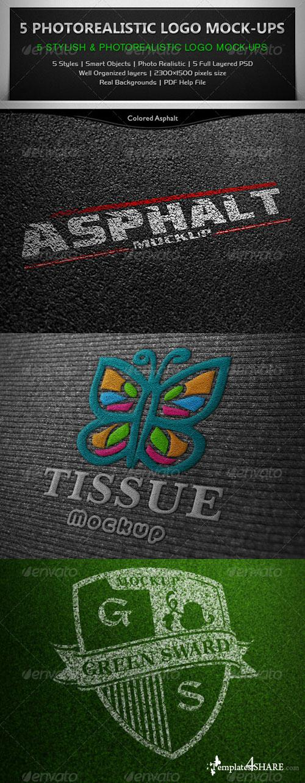 GraphicRiver 5 Photorealistic Logo Mock-Ups