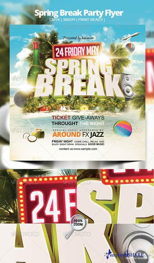 GraphicRiver Spring Break Party Flyer 4118081