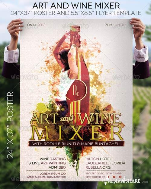 GraphicRiver Art and Wine Mixer Poster and Flyer Template
