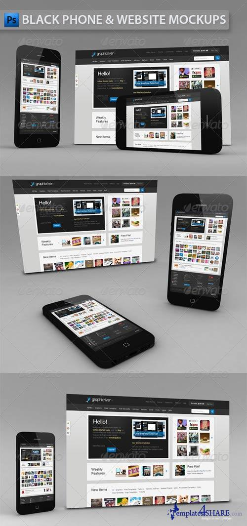 GraphicRiver Black Phone and Website | App Mockup