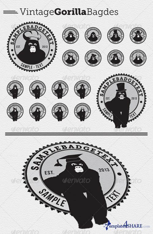 GraphicRiver 16 Vintage Gorilla Badges