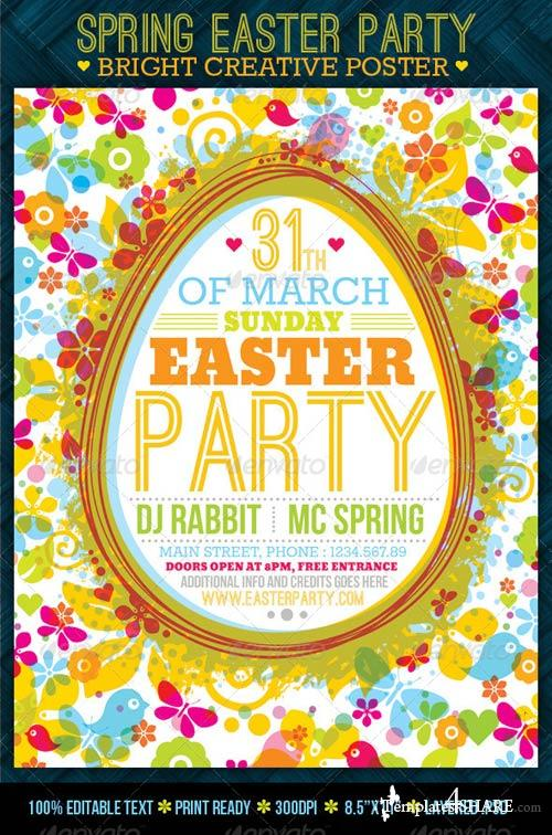 GraphicRiver Fresh Spring Easter Party Creative Poster