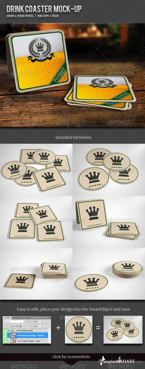 GraphicRiver Drink Coaster Mock-Up