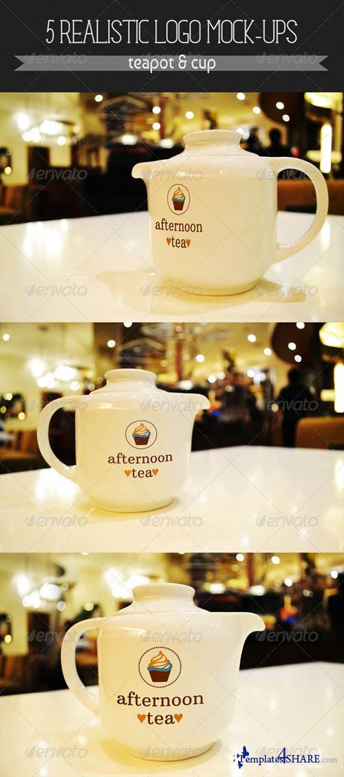 GraphicRiver 5 Realistic Logo Mock-Ups - Teapot & Cup