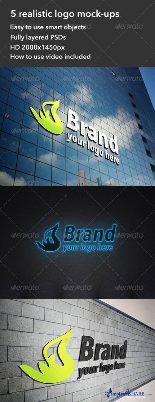 GraphicRiver 5 Realistic Interior & Exterior Logo Mockups